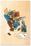 affiche de Tintin tenant des albums, avec Milou qui court